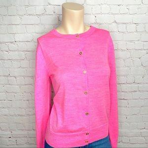 J. CREW Sz XL Cardigan Sweater Pink Merino Wool